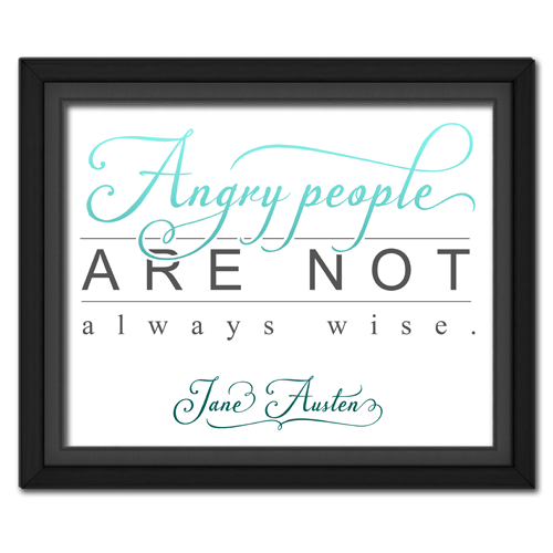 Angry People Turquoise Framed Quotation Picture