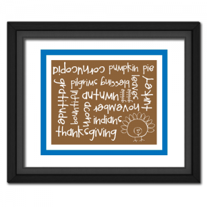 Thanksgiving Words Blue