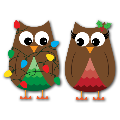 Christmas Owls Clip Art SVG