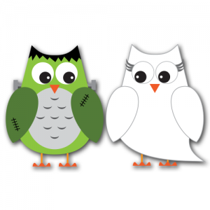 Spooky Halloween Owls Clip Art SVG