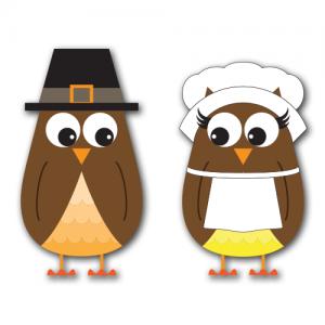 Pilgrim Owls Clip Art SVG