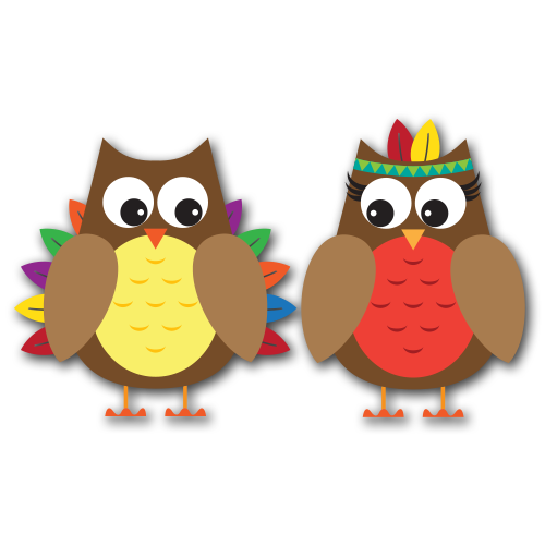 Thanksgiving Owls Clip Art SVG