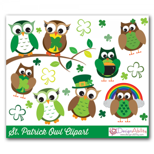 St. Patrick Owls PNG Clip Art Set