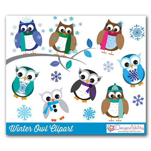 Winter Owls PNG Clip Art Set