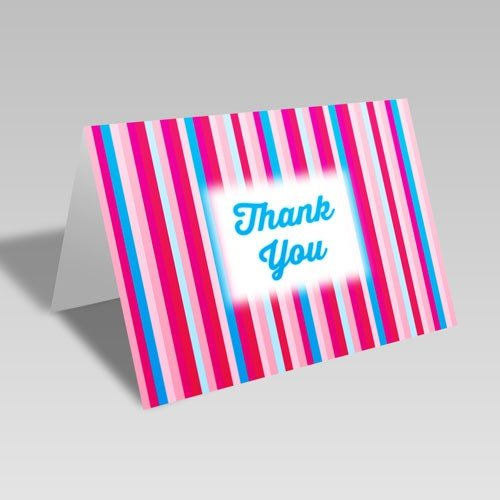 Thank You Stripes Card: Blue