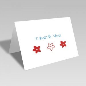 Three Flower Thanks Card: Blue