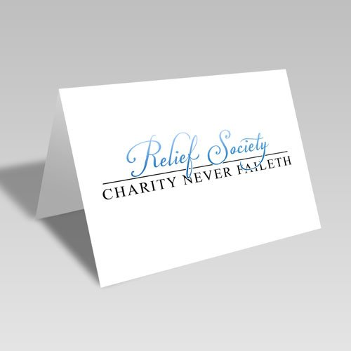 Relief Society & Charity Never Faileth Card - Blue #lds #reliefsociety