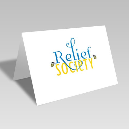 Relief Society Blue & Gold Bee Card - Blue #lds #reliefsociety