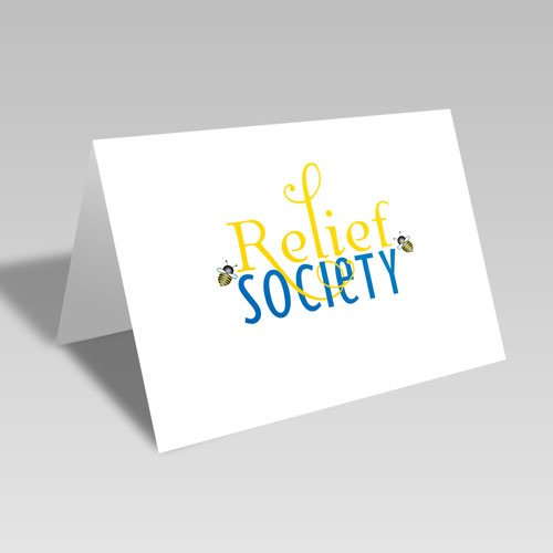 Relief Society Blue & Gold Bee Card - Gold #lds #reliefsociety
