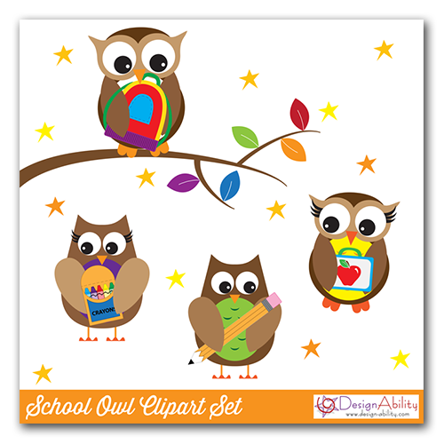 School Owls Clip Art Set