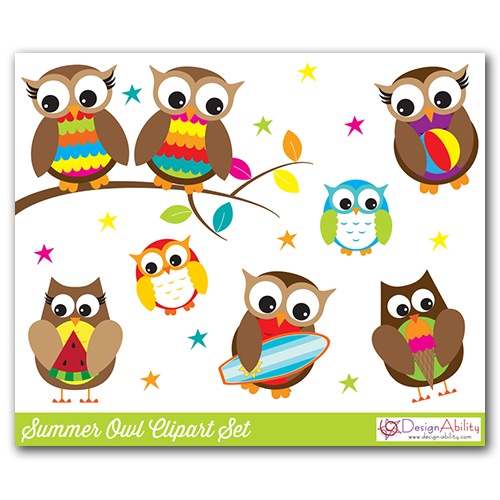 Summer Owls Clip Art Set