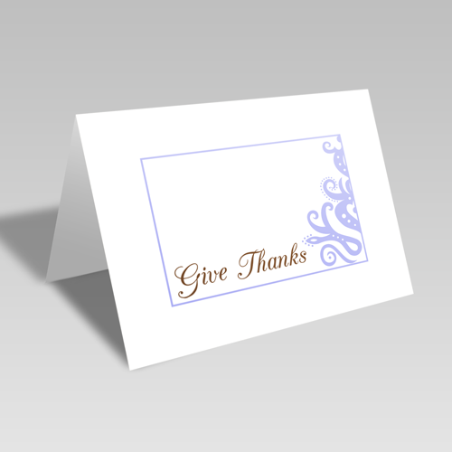 Give Thanks Elegant Card: Blue