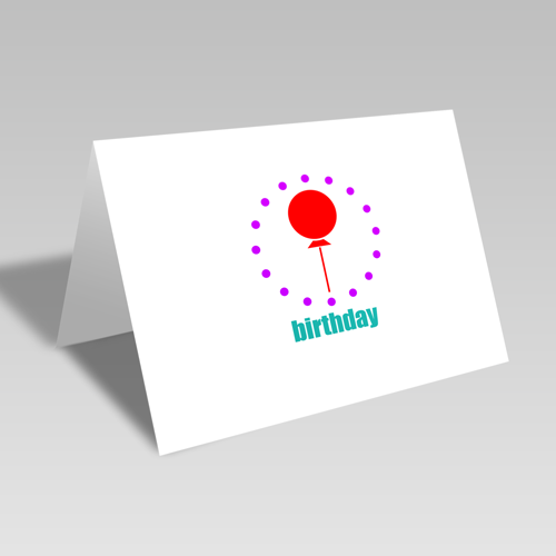Birthday Balloon Circular Card: Purple