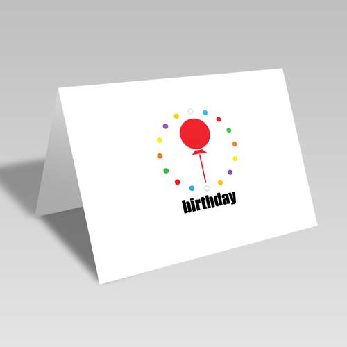 Birthday Balloon Circular Card: Rainbow