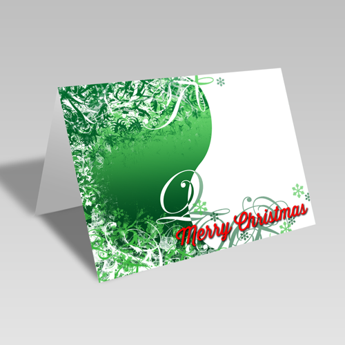 Christmas Swirls Card: Green