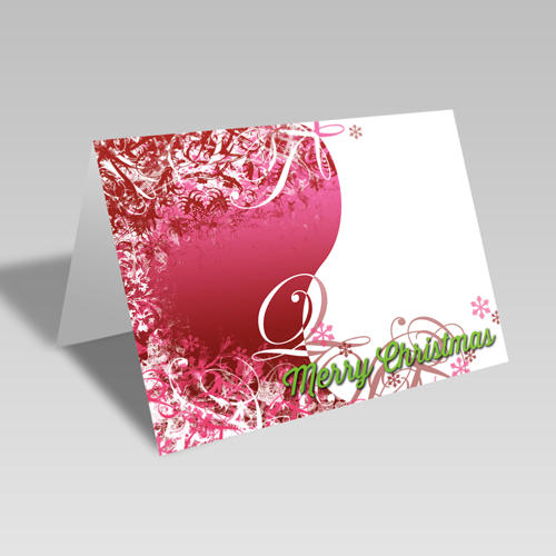 Christmas Swirls Card: Pink