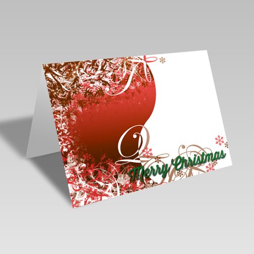 Christmas Swirls Card: Red
