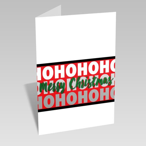Ho Ho Ho Christmas Card: Green