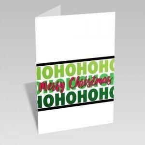 Ho Ho Ho Christmas Card: Pink