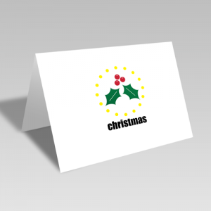 Christmas Holly Circular Card
