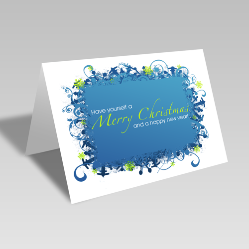 Merry Christmas & Happy New Year Card: Blue