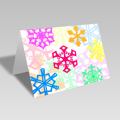 Rainbow Snowflake Fantasy Card