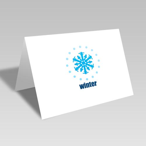Winter Snowflake Circular Card