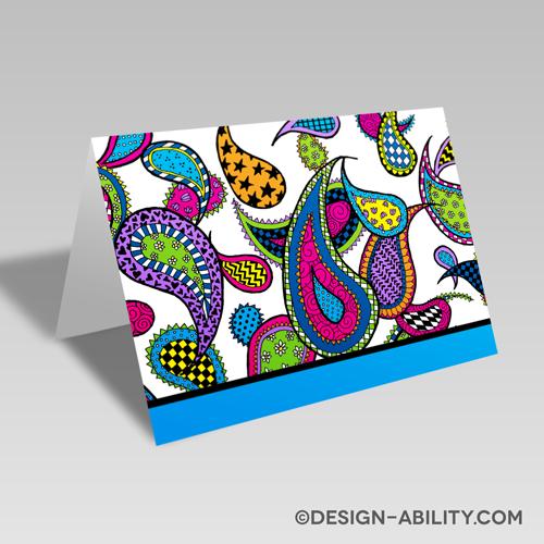 Paisley Card: Aqua