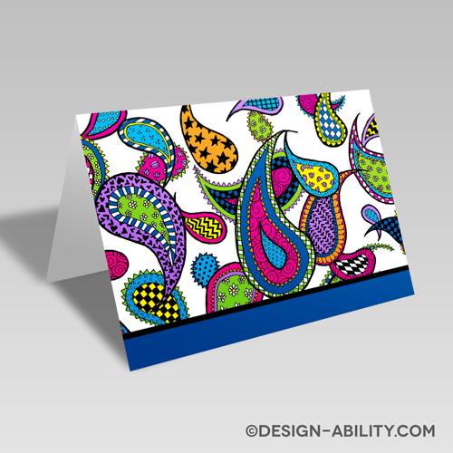 Paisley Card: Blue