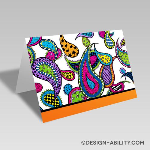 Paisley Card: Orange