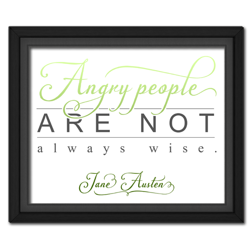 Angry People Green Framed Quotation Picture