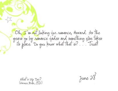 Romantic Movie Quote Calendar | June