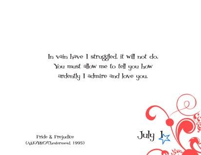 Romantic Movie Quote Calendar | July