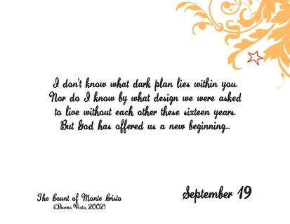 Romantic Movie Quote Calendar | September