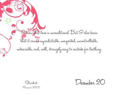 Romantic Movie Quote Calendar | December