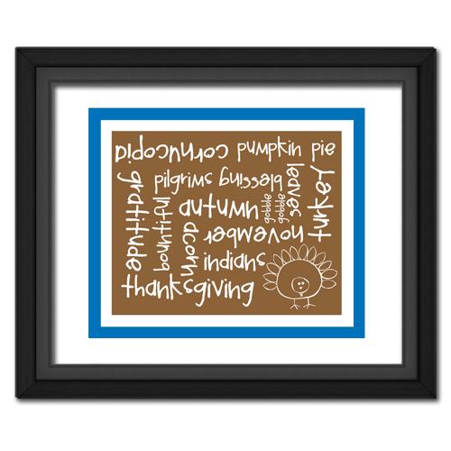 Thanksgiving Words Blue