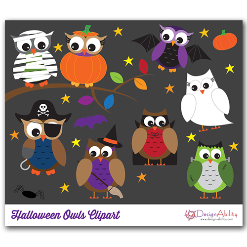 Halloween Owls PNG Clip Art Set