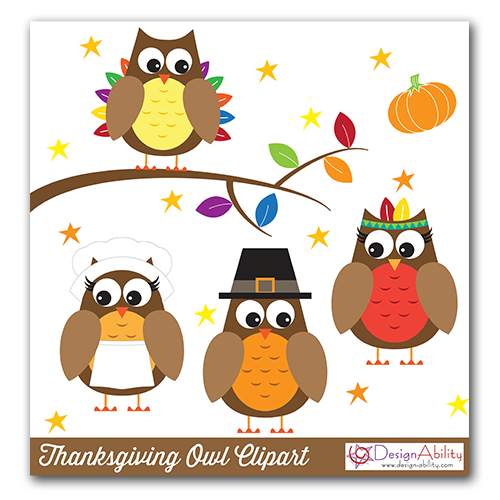 Thanksgiving Owls Clip Art PNG Set