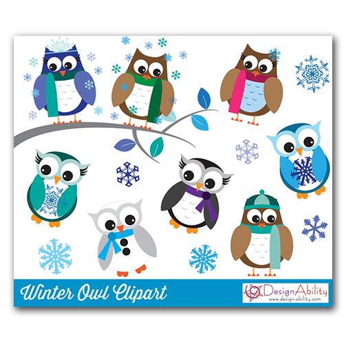 Winter Owls PNG Clip Art Set