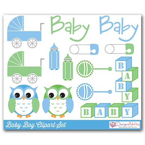 Baby Boy Clip Art Set