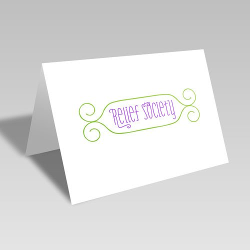 Relief Society Swirly Frame Card - Green #lds #reliefsociety