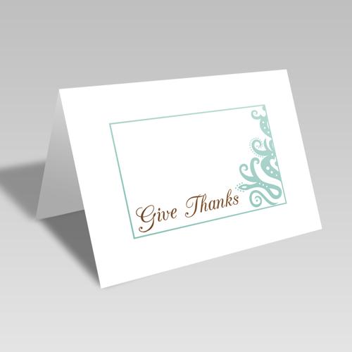 Give Thanks Elegant Card: Aqua