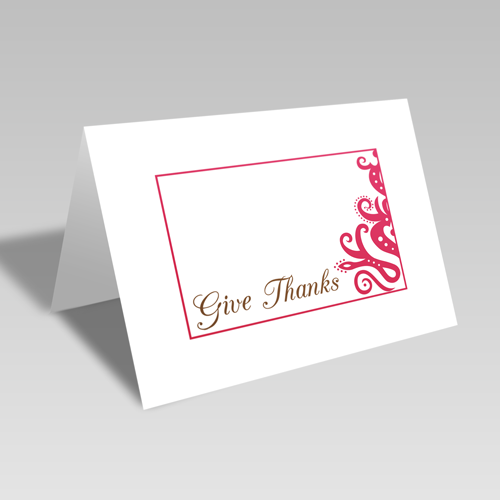 Give Thanks Elegant Card: Pink