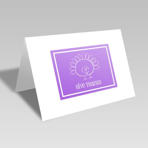 Give Thanks Turkey Card: Purple