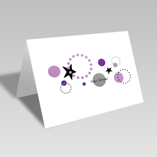Circular Birthday Card: Purple