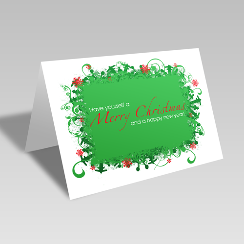Merry Christmas & Happy New Year Card: Green