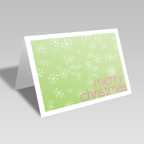 Merry Snowflakes Card: Green