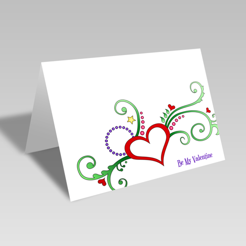 Valentine Heart Flower Card