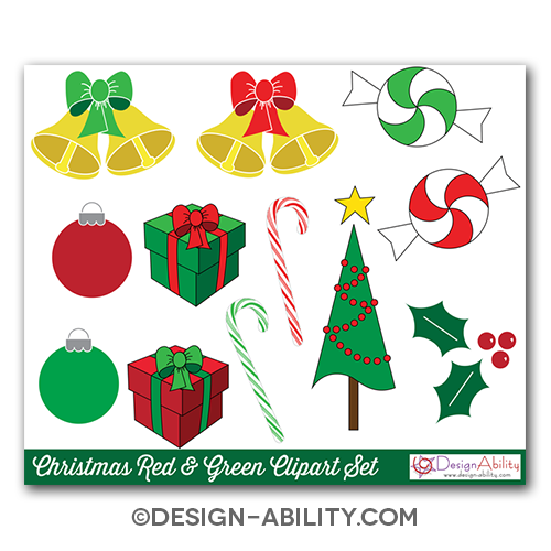 Christmas Red & Green Clip Art Set